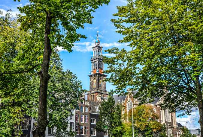amsterdam ancient architecture blue sky